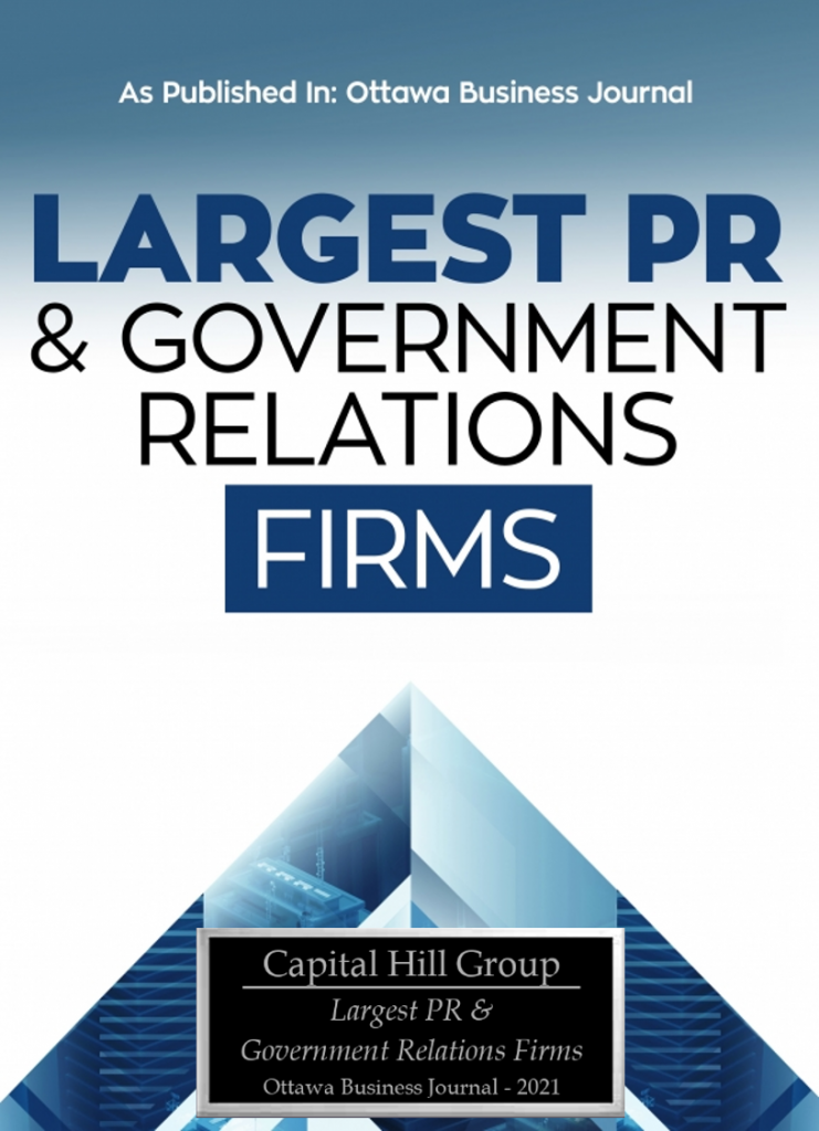 Largest PR Government Relations firm capital hill group Ottawa business journal Award